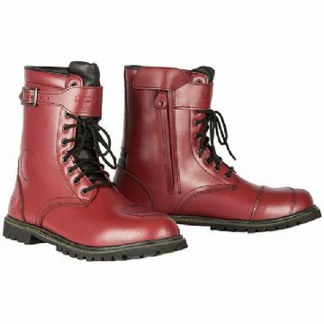 Spada Pilgrim Grande Waterproof Leather Motorcycle Motorbike Boots Cherry Red